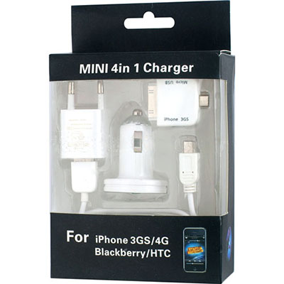 Mini 4in1 Charger for iPhone 4/ 3GS/ Blackberry/ HTC (Ai0012) - Click Image to Close