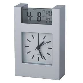 Silver Plastic Analog Clock (AC20006) - Click Image to Close