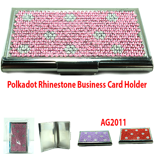 Polkadot Rhinestone Business Card Holder (AG2011)