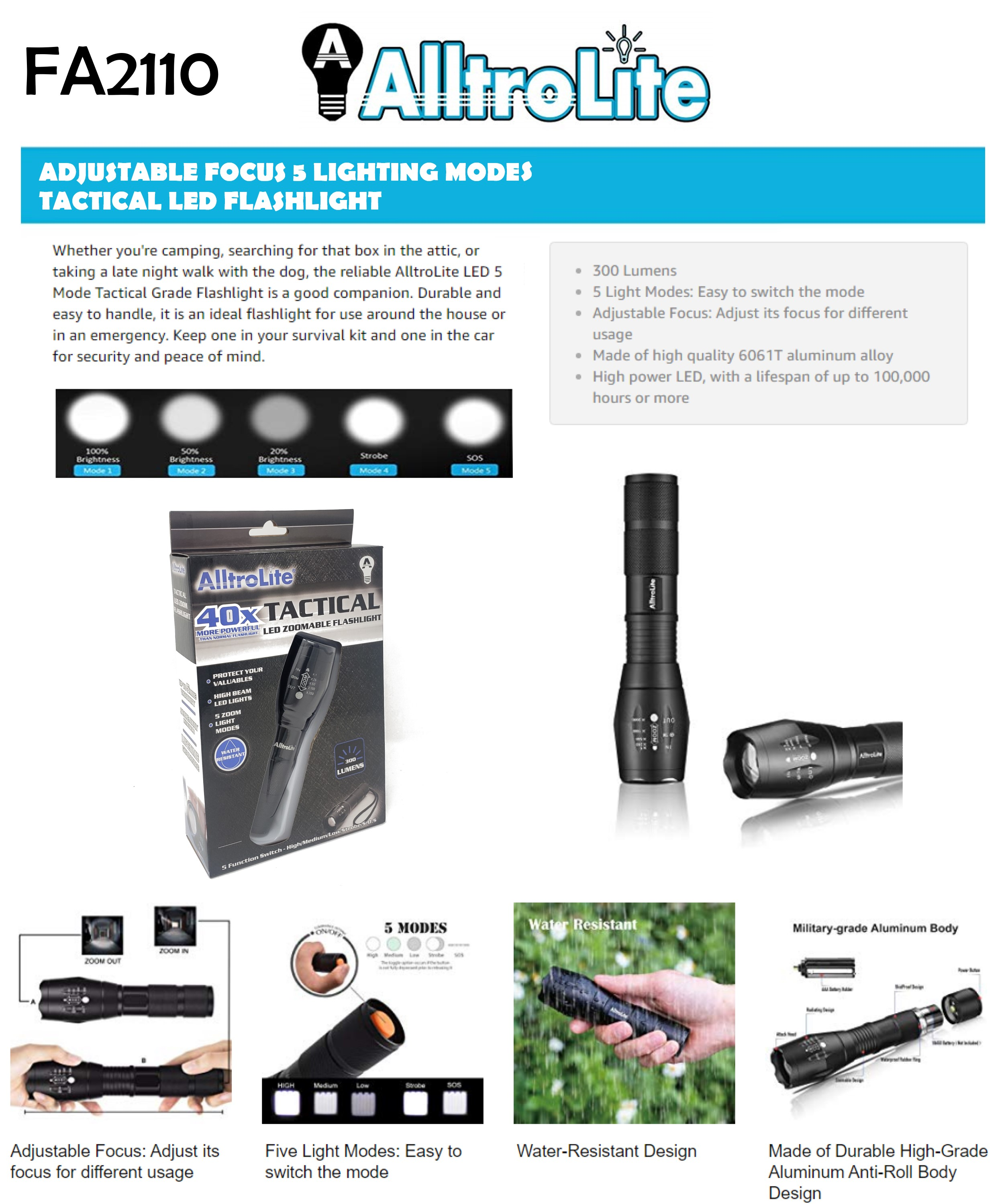 5 Mode Tactical 40X Flashlight (FA2110)