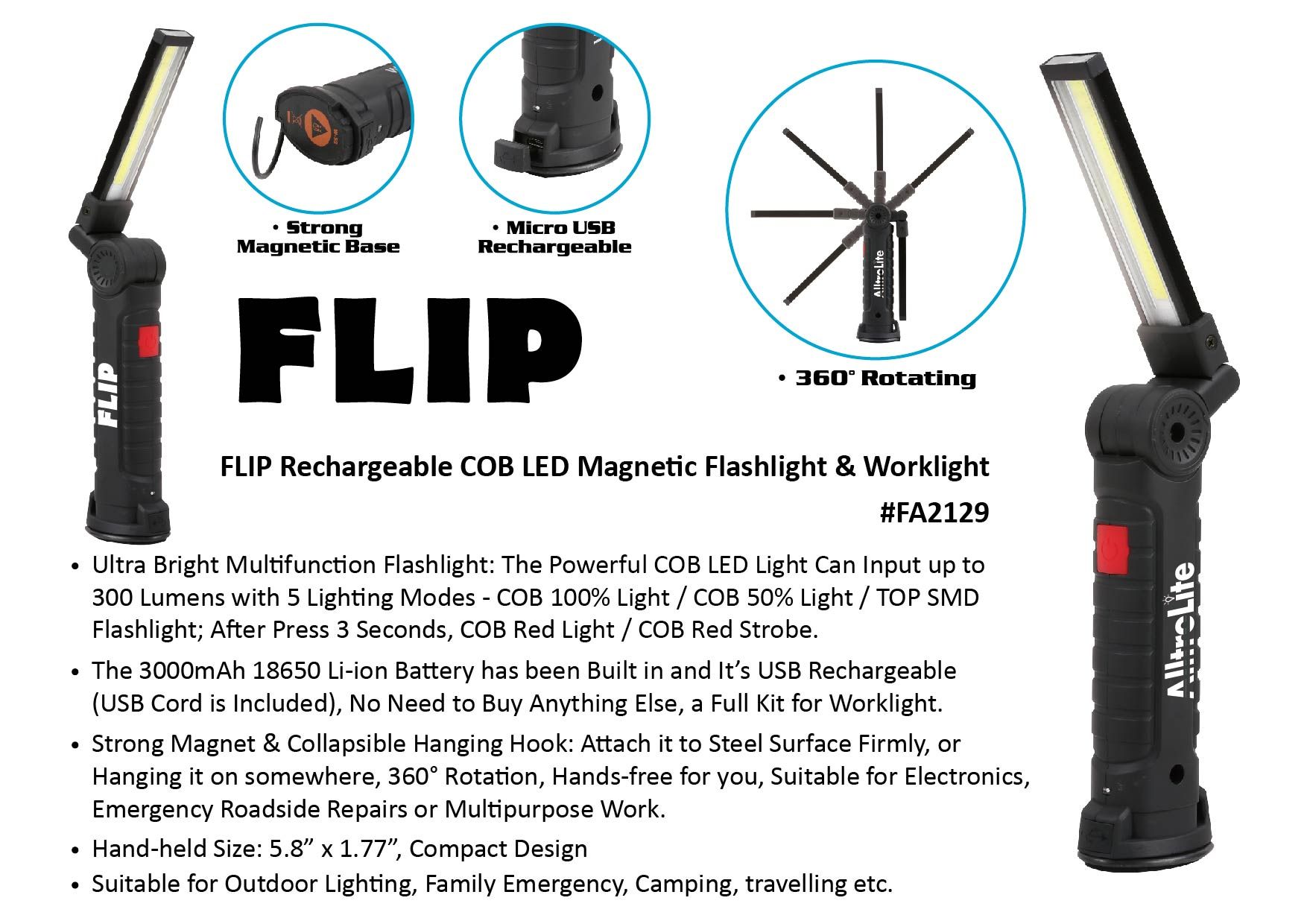 Rechargeable 360 WorkLight (Flip FA2129)