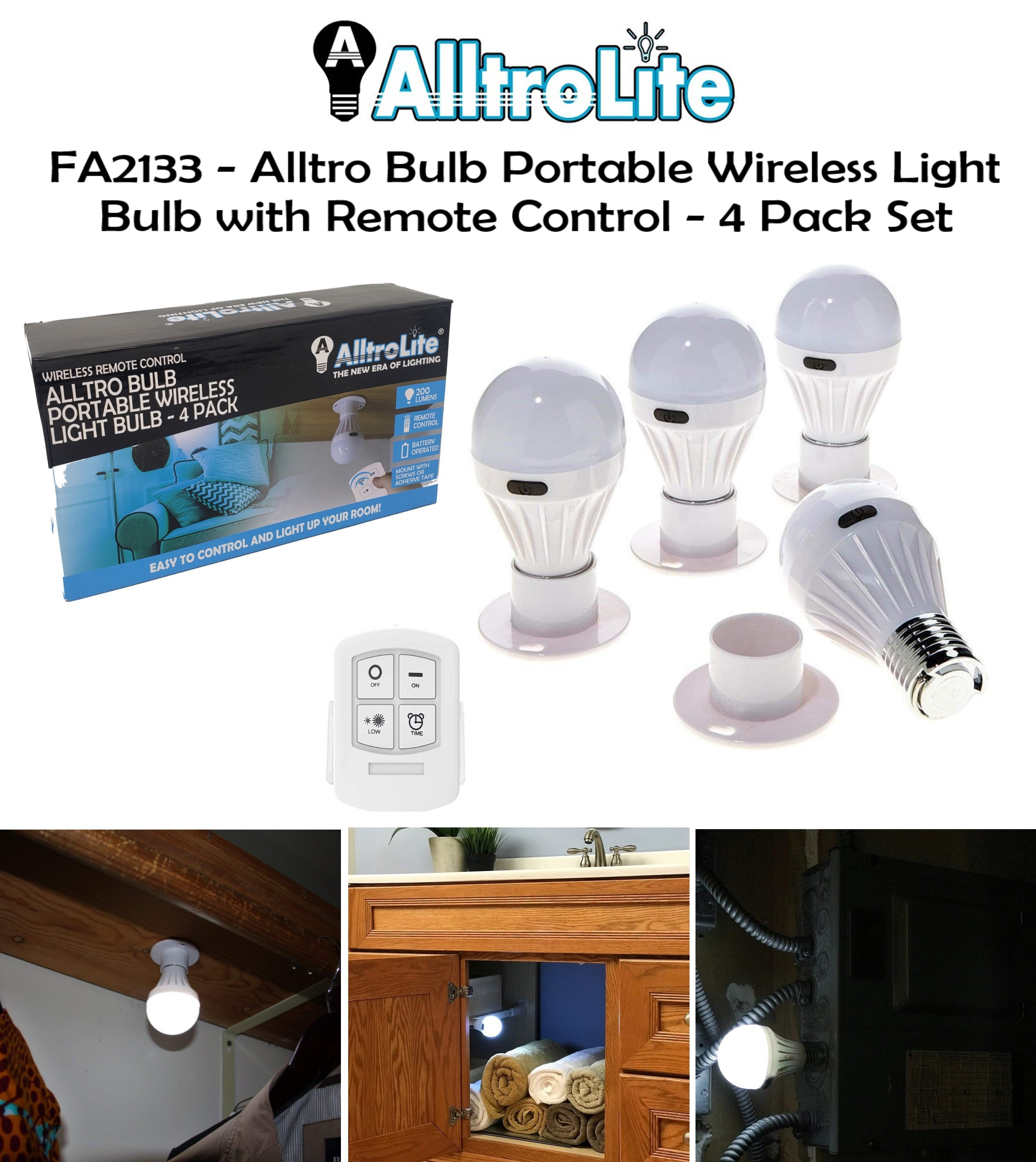 4 Pack Wireles Remote Light Bulb (FA2133)