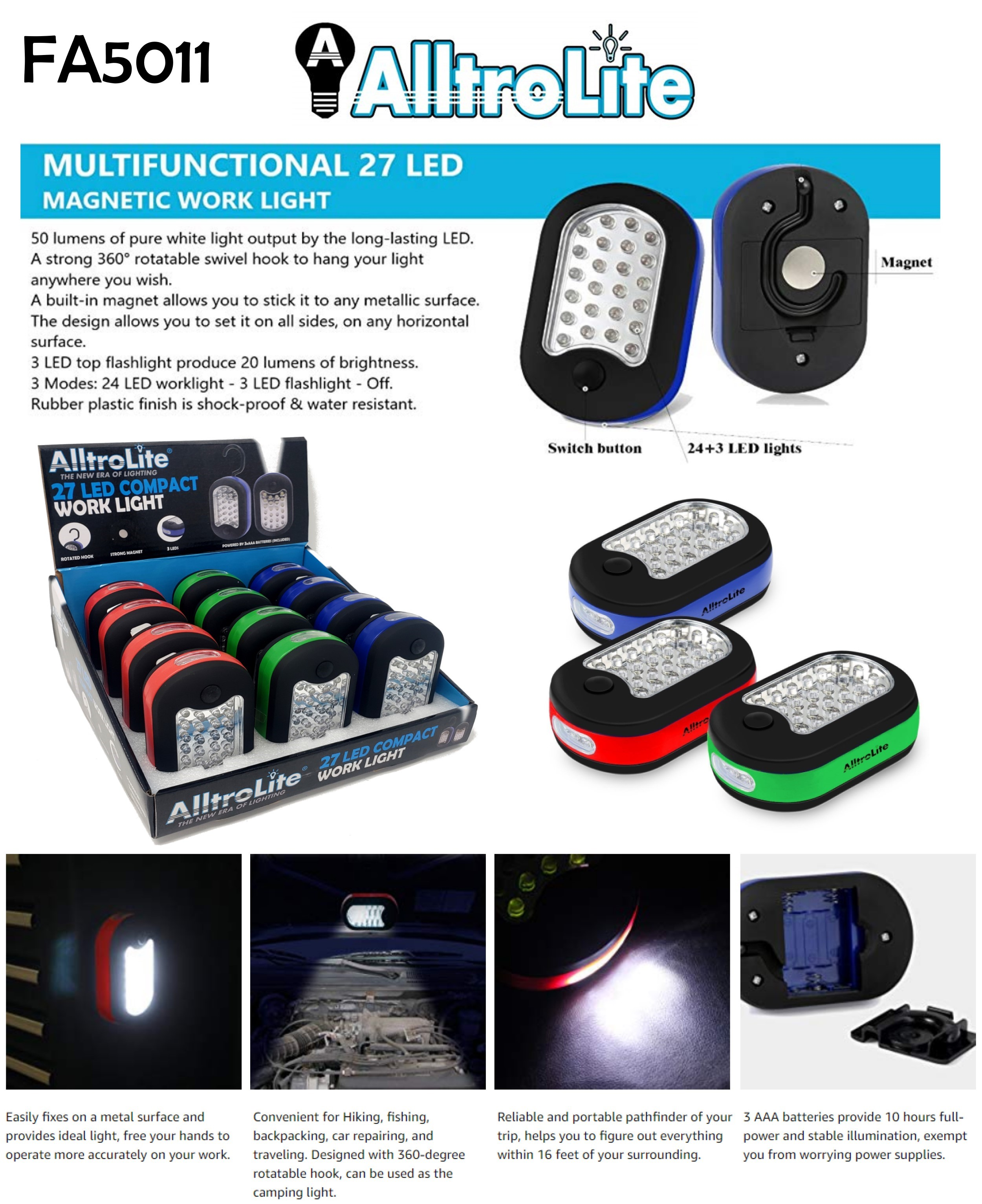 27 LED Magnetic Flashlight (FA5011)