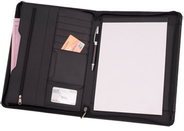 Leatherette Padfolio with Zippers, Interior Pockets and Notepad