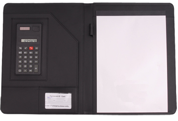 Leatherette Padfolio w/ Solar Calculator (AX.2005KH)