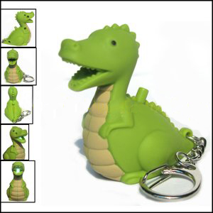 LED Dinosaur Keychain with sound (AN2012 Green)
