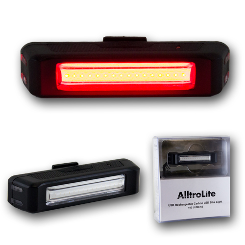 AlltroLite USB Rechargeable Carbon LED Bike Light (FA2008)
