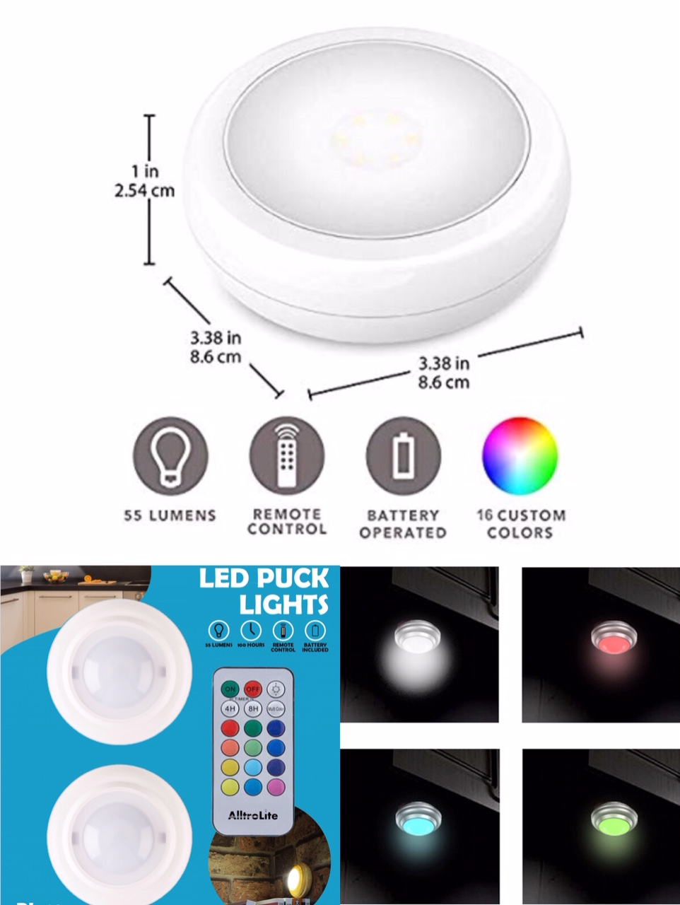 2Pack Wireless Color Changing Puck Light with Remote