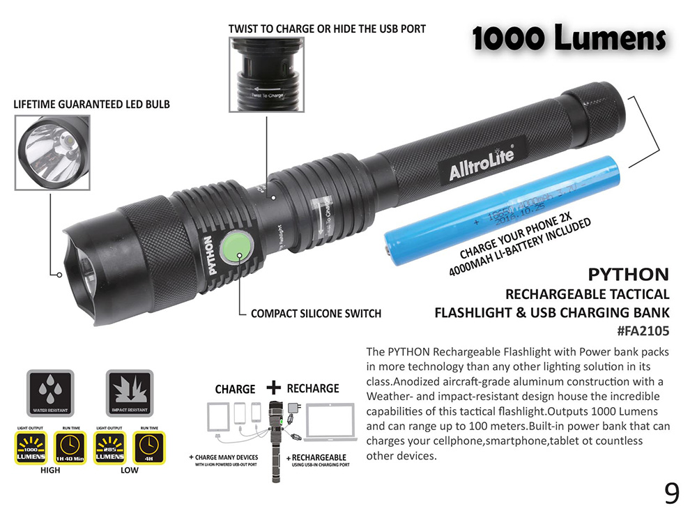 Rechargeable 1000 Lumen Flashlight With Power Bank (Python)