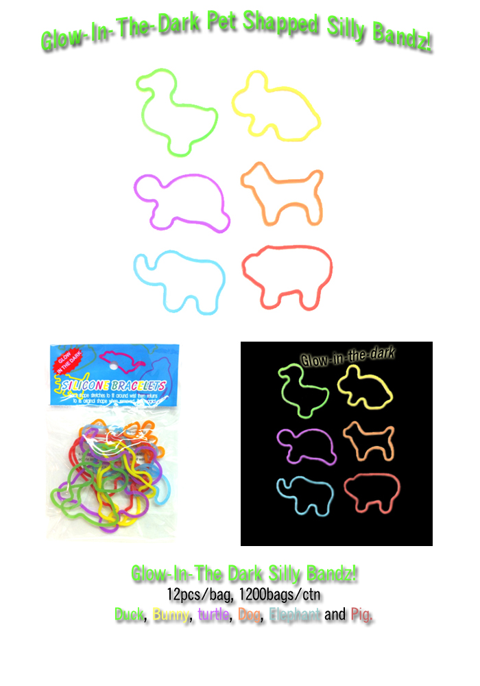 Glow-In-The-Dark Silly Bandz Pet Shaped!